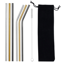 Stainless Steel Reusable Drinking Straws Eco-friendly Metal Straw Bent Straight Drinks Straw Cleaner Brush Bag Bar Accessories reusable bent straight stainless steel straws metal straw cocktail drinking straw for 20oz 30oz tumbler party bar accessories