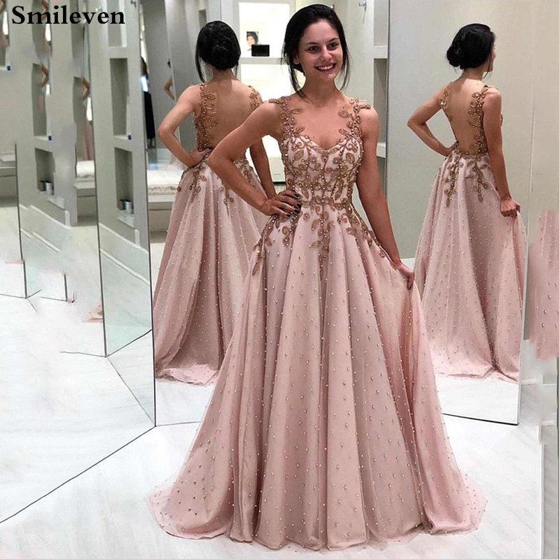 Smileven Formal  Evening Gowns A Line Pink Prom Party Dresses With Pearls Long Evening Party Dress