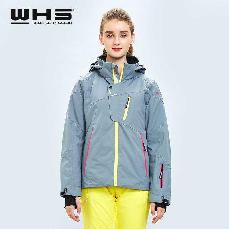 WHS nuevas chaquetas de esquí de invierno al aire libre caliente chaqueta de nieve abrigo femenino impermeable chaqueta de nieve señoras transpirable ropa deportiva