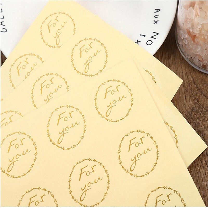 120 шт./упак. прозрачный бронзового цвета для вас круглая подарочная упаковка горячая наклейки для стемпинга сделай сам наклейки специальные...