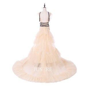 Image 2 - فستان الحفلات المسائية من Jusere a line في المخزون تنورة مكشكشة مع ذيل سويب مطرز بالخرز