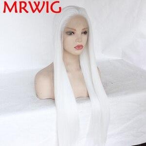 Image 2 - MRWIG Glueless Synthetische Lace Front Perücken Kostenloser Teil Weiß Farbe Lange Gerade Halb Hand Gebunden Ersatz können permed farbstoff