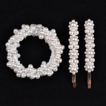 14 Colors Woman Elegant Pearl Hair Ties Beads Girls Scrunchies Rubber Bands Ponytail Holders Hair Accessories Elastic Hair Band 31