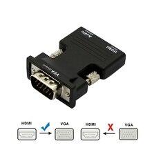 Conversor hdmi fêmea para macho vga, conversor com cabo de áudio aux de 3.5mm, adaptador de 1080p, saída de vídeo fhd para pc projetor para monitor de tv e laptop