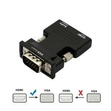 Конвертер с HDMI «мама» на VGA «папа» с аудиокабелем AUX 3,5 мм, адаптер 1080P FHD, видеовыход для ПК, ноутбуков, ТВ мониторов, проекторов