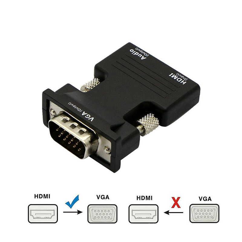 Konwerter HDMI żeński na VGA męski z adapterem kabla Audio AUX 3.5mm wyjście wideo 1080P FHD na komputer przenośny Monitor TV projektor