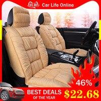 Warm Car Seat Cover Universal Winter Plush Cushion Faux Fur Material For Car Seat Protector Mat Car Interior Accessories