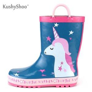 Botas de lluvia para niñas KushyShoo, bonito dibujo de unicornio con asas, botas de goma para niños, botas impermeables para exteriores Kalosze Dla Dzieci