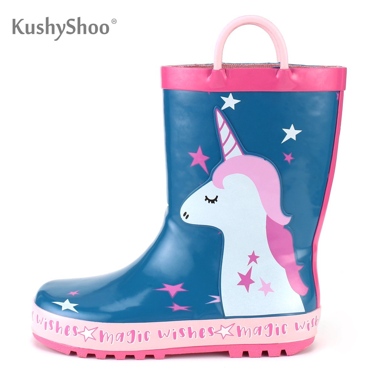 KushyShoo Girl Rain Boots Kids Cute Unicorn Printed With Handles Children's Rubber Boots Waterproof Outdoor Kalosze Dla Dzieci