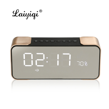 Laiyiqi Metal texture Bluetooth speaker HIFI Mirror LED stereo subwoofer bass Alarm Clock FM Radio Amplifier caixa som portatil