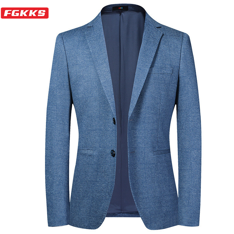 FGKKS Brand Men Blazers Comfortable Fashion Office Men's Prom Button Decoration Suit Jacket Formal Blazer Male