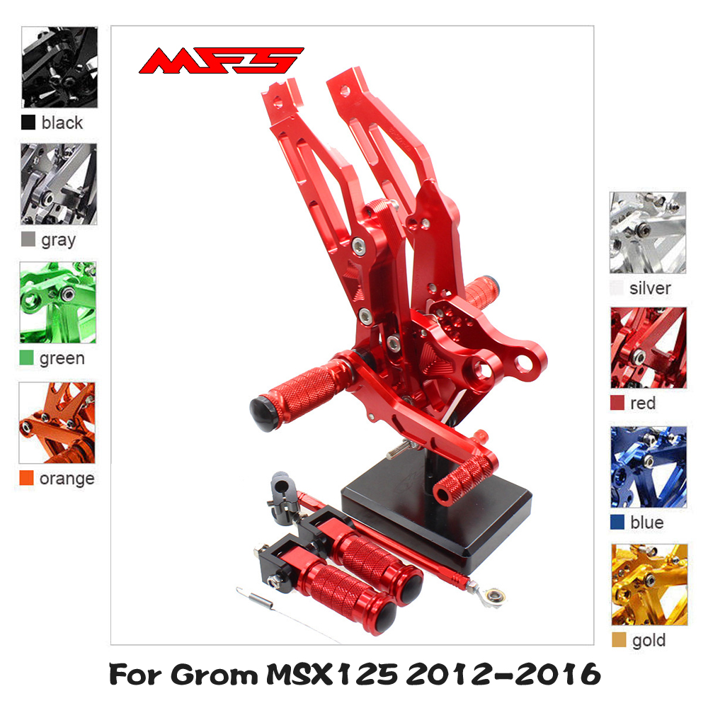 MFS Motorcycle <font><b>Rearset</b></font> CNC Adjustable Foot Pegs Accessories For Honda Grom <font><b>MSX125</b></font> 2012 2013 2014 2015 2016 Footrests Black image