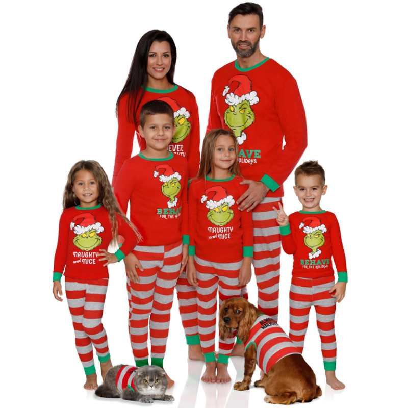 2019 Animal Family Home Clothing Sets Cotton Pajamas Suit Christmas Parent Children Clothes Outfits Male Female Matching Apparel