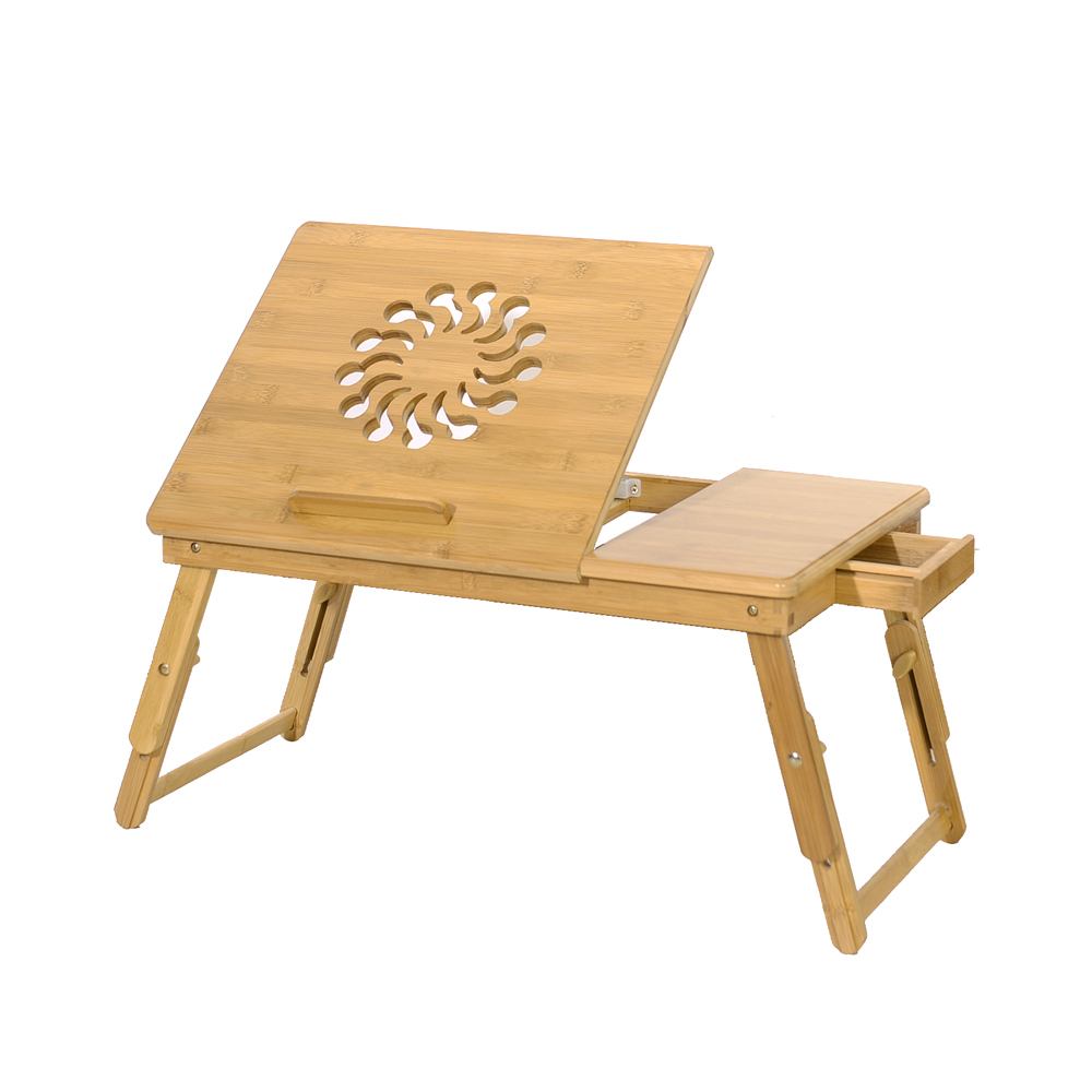 Portable Folding Bamboo Laptop Table Sofa Bed Office Laptop Stand Desk Bed Table Computer Notebook Books Engraving Pattern
