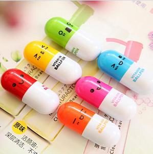 4Colors Smiling Face Pill Ballpoint Pen Lovely Novelty Stationery Telescopic Vitamin Capsule Ball Pens Student Learning Supplies(China)