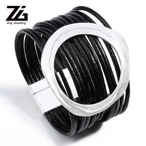 ZG Bracelets Multi-layer Winding Wrap Leather Bracelet Fashion Women Hand Jewelry Summer Accessories for Female in Black color
