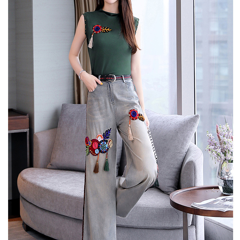Casual WOMEN'S Suit 2019 New Summer Wear Korean-style Elegant Goddess-Style Ethnic-Style Loose Pants Two-Piece Set Western Style