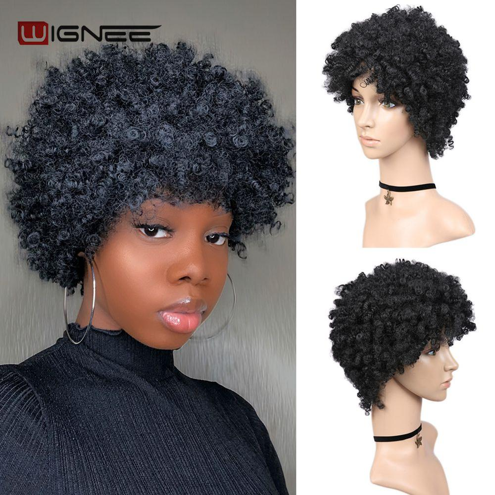 Wignee Short Hair Afro Black Kinky Curly Heat Resistant Synthetic Wigs For Black Women Cosplay African Natural American Wigs