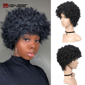 Wignee Short Hair Afro Black Kinky Curly Heat Resistant Synthetic Wigs for Black Women Cosplay African Natural American Wigs цена 2017