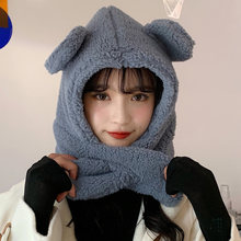 Зимний аксессуар Милая шапка с шарфом в Корейском стиле теплый