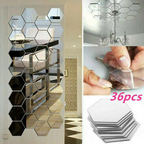 36X Acrylic Mirror Effect Tile Wall Sticker Room Decor Stick Art Bathroom DIY US