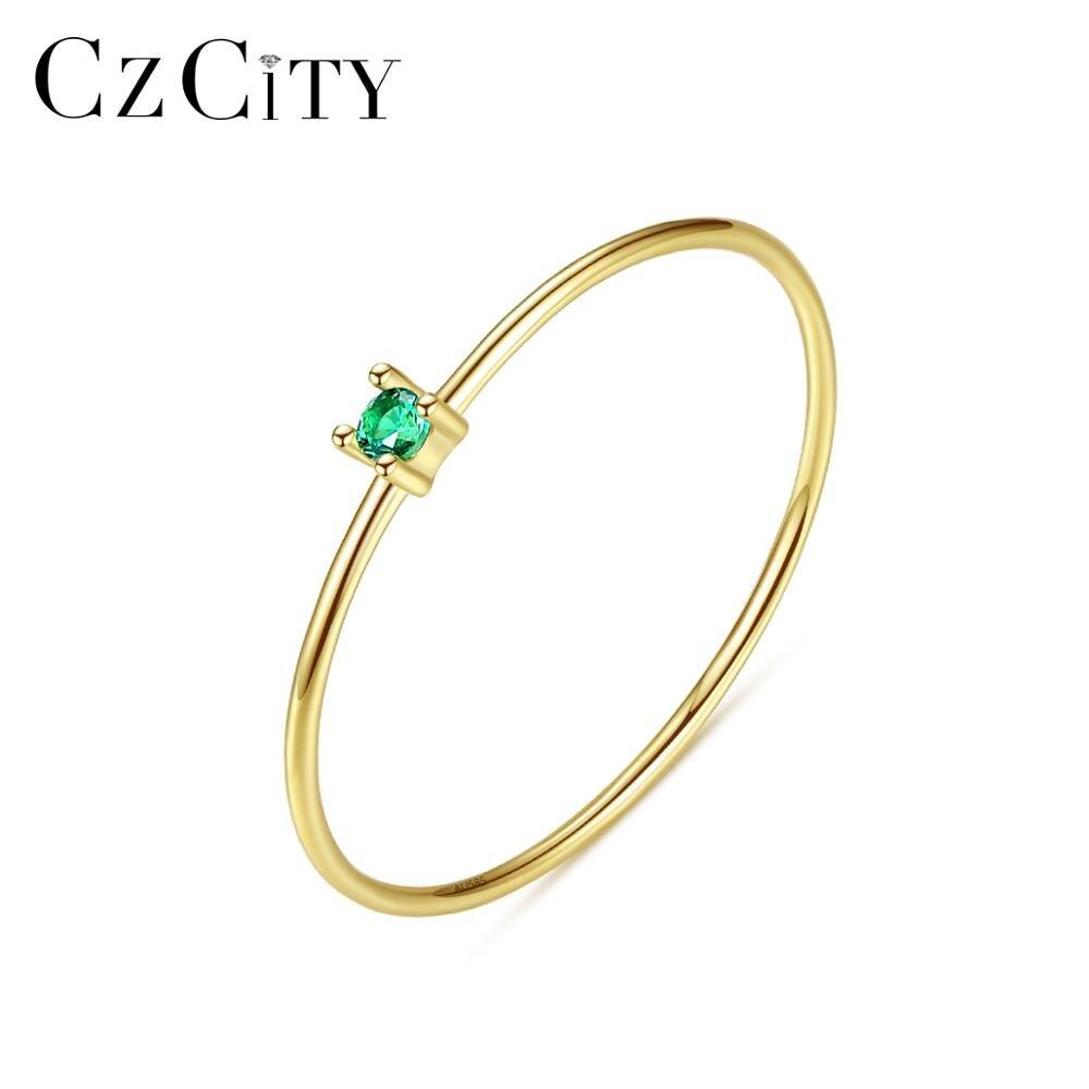 CZCITY nouveau luxe or Pur bijoux 14k or anneaux pour femmes fiançailles mariage or jaune 585 Anillos De Ouro Pur cadeaux R14145