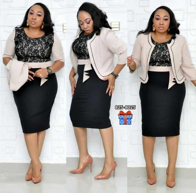 African Clothes Lace Patchwork Two Piece Set Women Elegant Blazer&Lace Pencil Dress High Quality Office Lady Plus Size 2