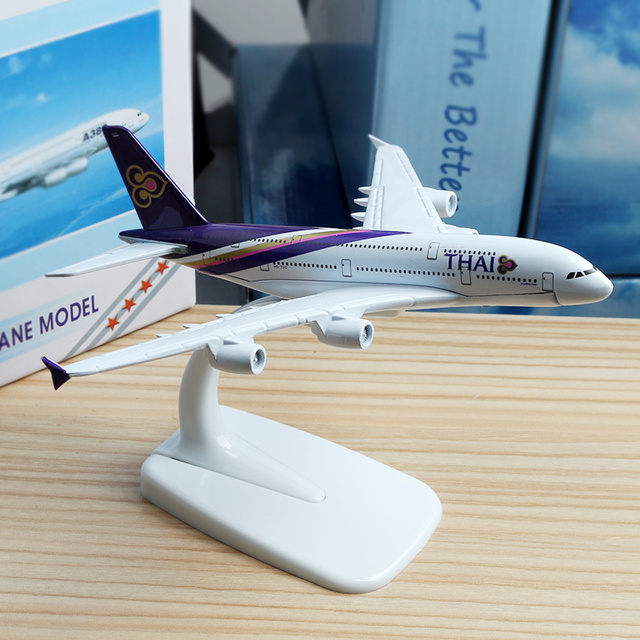 16cm Thai Airline A380 Plane Model alloy model aviation model Aircraft Thailand Airways A380 Airplane Model Stand Craft 1:400 1