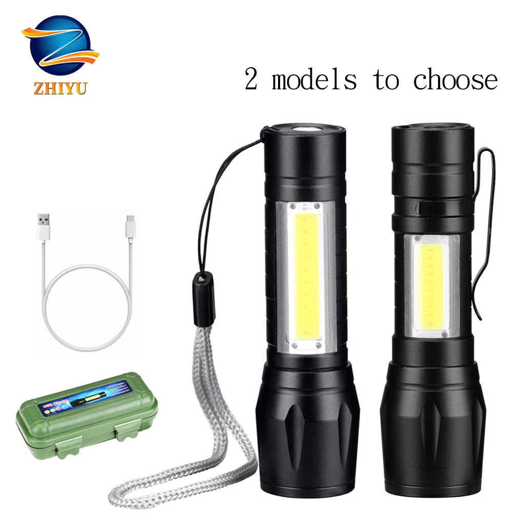 Zhiyu Oplaadbare Draagbare Led Zaklamp Cob + Xpe Led Zaklamp Waterdicht Camping Lantaarn Zoomable Focus Licht Tactische Zaklamp
