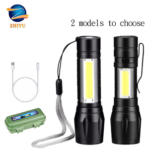 ZHIYU Rechargable Portable LED Flashlight COB+XPE LED Torch Waterproof Camping Lantern Zoomable Focus Light Tactical Flashlight(China)