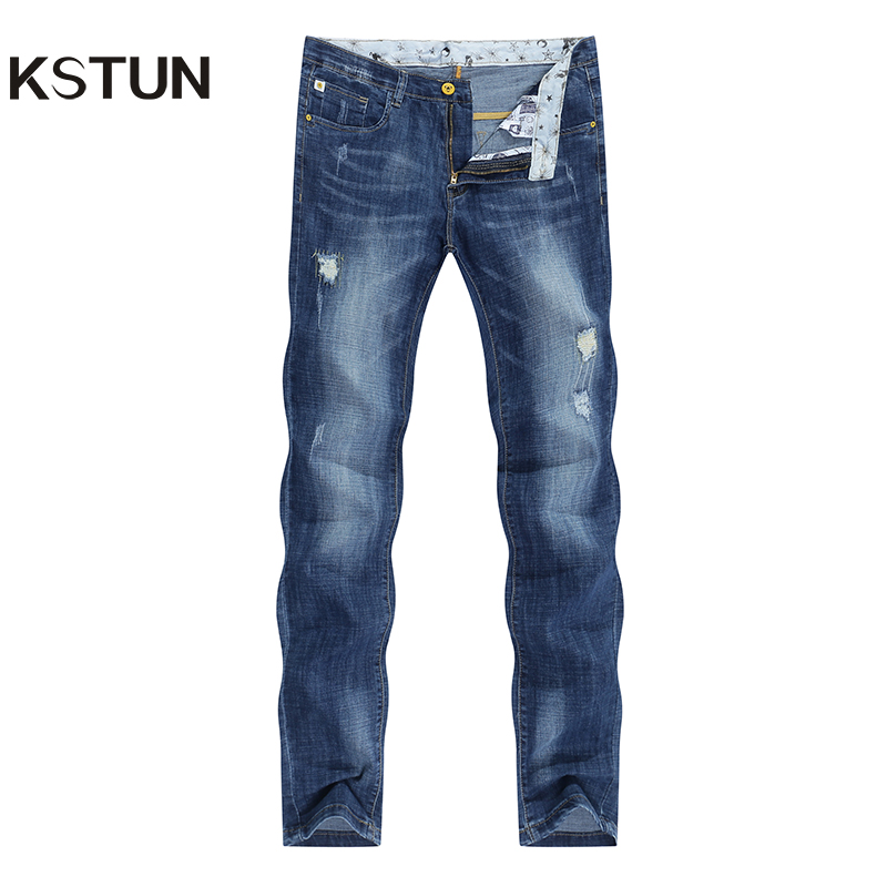 KSTUN Ripped Jeans for Men Slim Fit 2020 Summer Thin Distressed Hip hop Leisure Male Full Length Trousers Wholesale Dropshipping