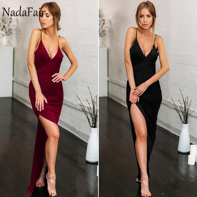 V Neck Maxi Party Dresses Women Red Long Dress Backless Split Spaghetti Strap Bodycon Club Summer Sexy Dress Vestidos 3