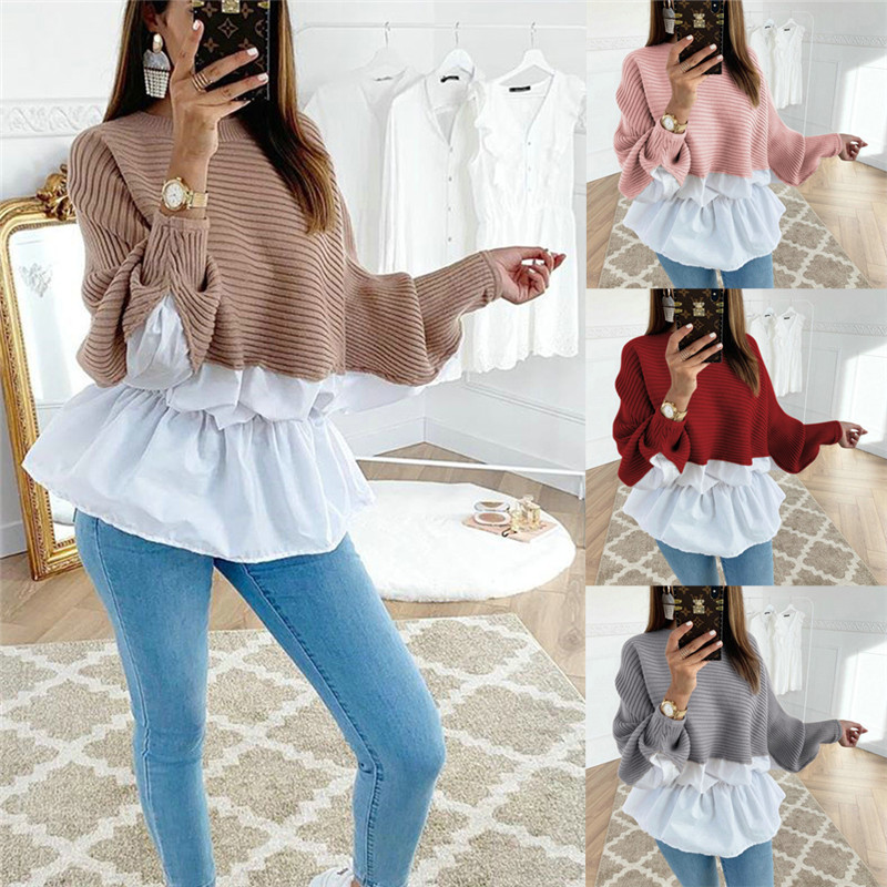 Fashion Women Hoodies Patchwork Design O-Neck Batwing Sleeve Top Elegant Lady Autumn Casual Loose Shirts
