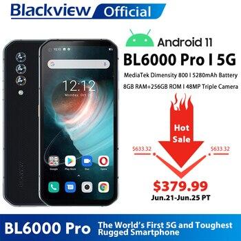 Blackview BL6000 Pro 5G Smartphone IP68 Waterproof 48MP Triple Camera 8GB RAM 256GB ROM 6.36 Inch Global Version Mobile Phones