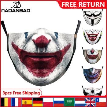 NADANBAO Halloween Funny Joker Face Print Masks Kids Washable Fabric Masks Women Adult Face Cover Reusable Fashion Outside Mask