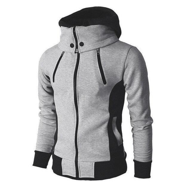 Zipper Autumn Winter Casual Fleece Coats Bomber Jacket Scarf Collar Fashion Hooded Male Outwear Slim Fit Hoody 1