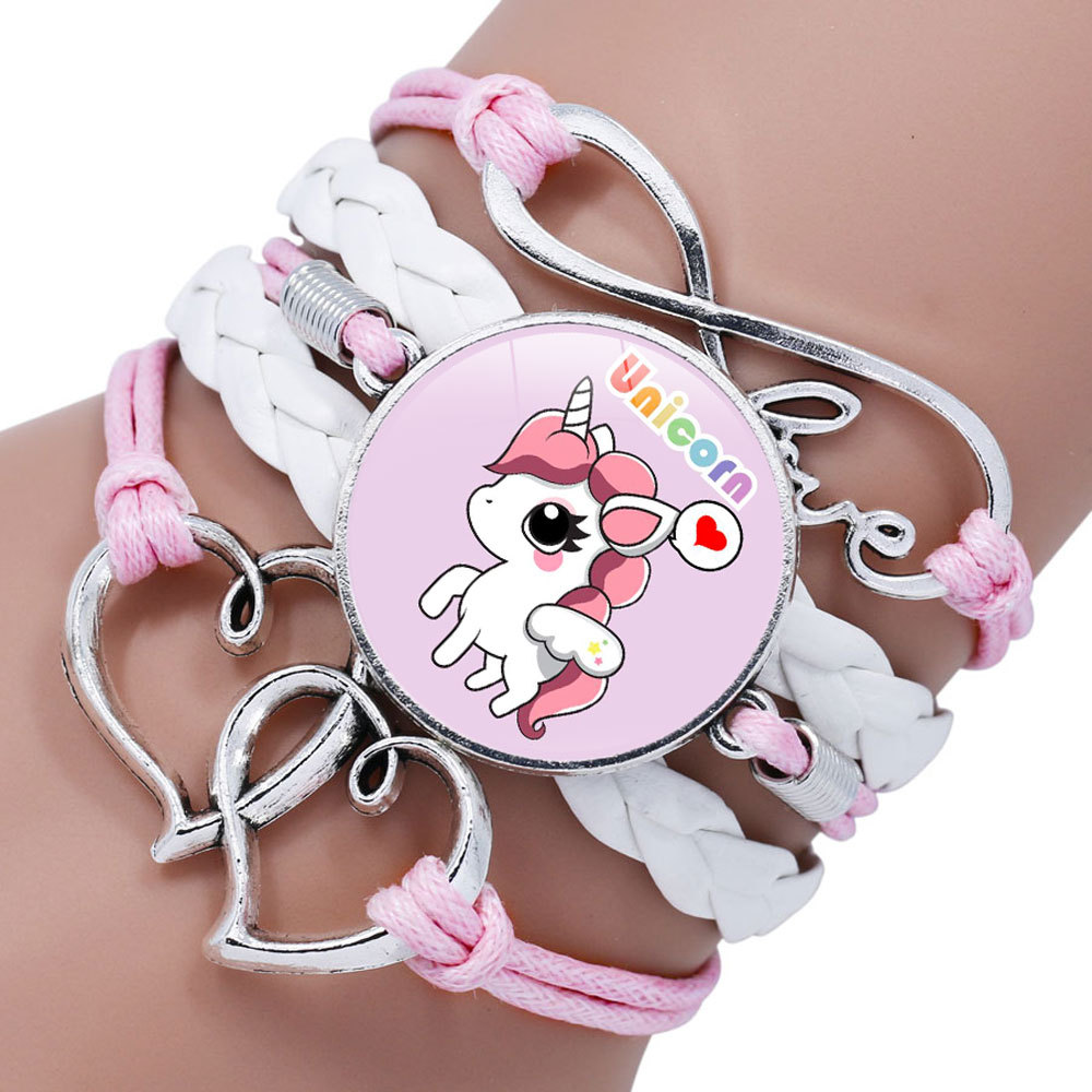 Unicorn Braided Kids Bracelet for Girls Friendship Bracelets Jewelry Multi-layer Charm Bracelet Fashion Jewelry gifts for girls