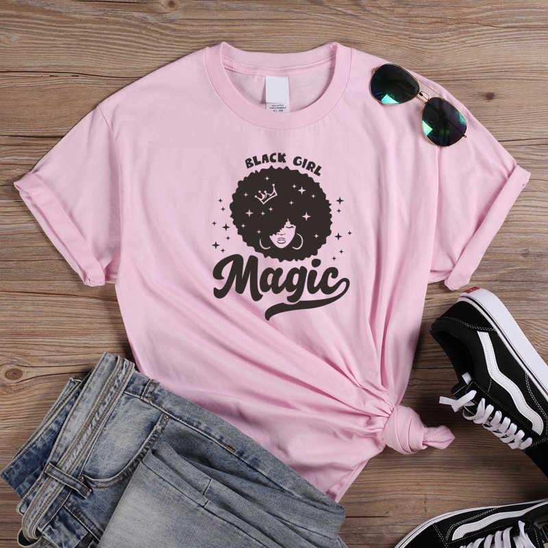מבריק כוכבים אפרו ליידי גרפי T חולצה שחור ילדה קסם T חולצות מלכת ילדה כוח Tees נשים מקרית כותנה חולצת טי חולצות