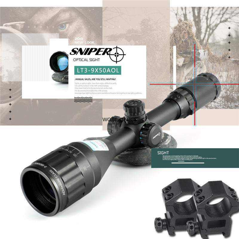 SNIPER 3-9X50 AOL Riflescope Tactical Optical Sight Full Size Mil-Dot RGB Wire Reticle Hunting Optics Rifle Scope Red Dot Sight