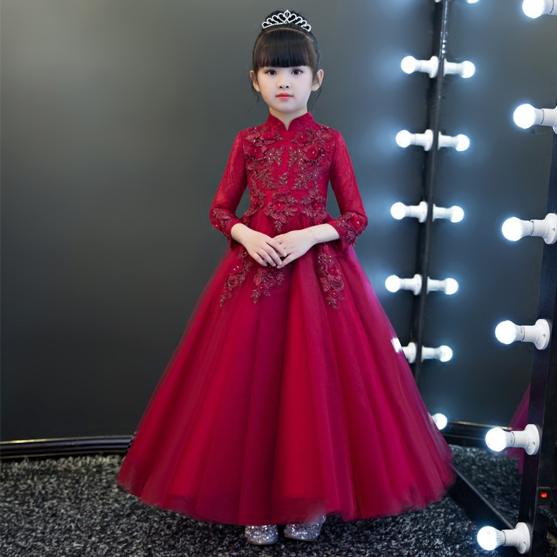 Girls Wedding Dress Puffy Yarn Kids Children Birthday Catwalks Evening Gown GIRL'S Skirt Piano Costume Princess Skirt