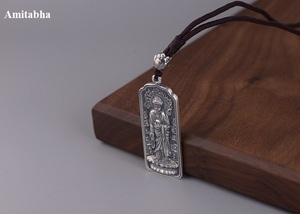Image 5 - 100% 925 Silver Tibetan Amitabha Buddha Statue Pendant Buddhist Kuanyin Pendant Tibetan Avalokitesvara Pendant Good Luck Amulet