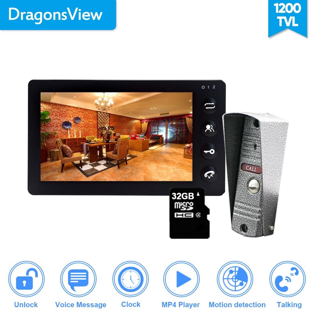 Dragonsview, vídeo de 7 pulgadas, sistema de portero automático, vídeo, puerta, teléfono con cámara MP3, MP4, desbloqueo, detección de movimiento, resistente al agua