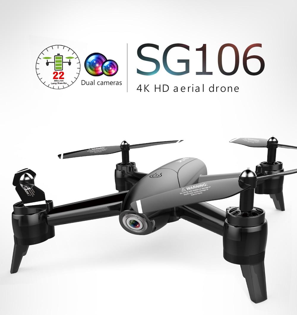 SG106 4K Drone with HD Camera 1080P Max 22Mins WiFi FPV Optical Flow Profissional RC Drone Quadrocopter Dron Toy Dual Camera RTF