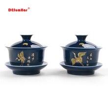 Благородный синий контур в золотой чашке для чая, крышка чаши чайный набор gaiwan чайный фарфоровый горшок набор путешествия красивый чайник 150 мл