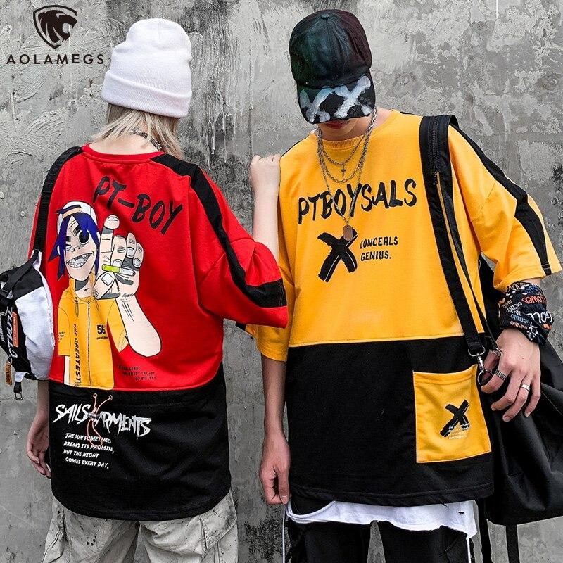Aolamegs Men T Shirt Hit Color Sleeve Cute Pocket Cozy Harajuku Hip Hop Boy Print High Street Style Advanced Streetwear Summer|T-Shirts|   - AliExpress