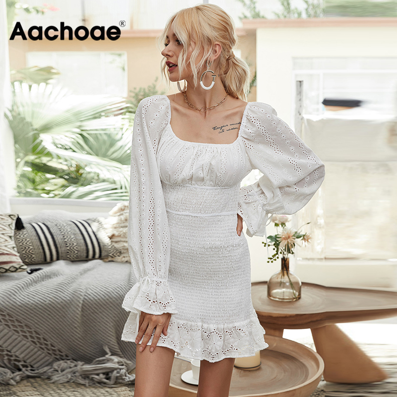 Aachoae Women Lace Embroidery A-line Dress Butterfly Long Sleeve Sexy Sheath Dress Lady Ruffles Bow Stylish Mini Dress Sundress