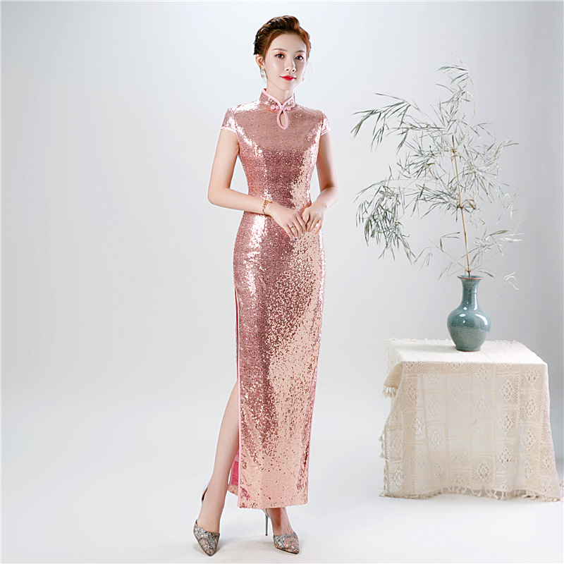 2020 Spring New Pink Sequin Cheongsam Female Etiquette Catwalk Show Improved Cheongsam Plus Size 5XL