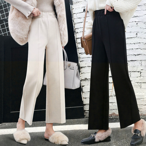 Korean Thicken Women Straight Pants 2019 Autumn Winter Plus Size Ol Style Wool Female Work Suit Pant Loose Female Trousers Xxl