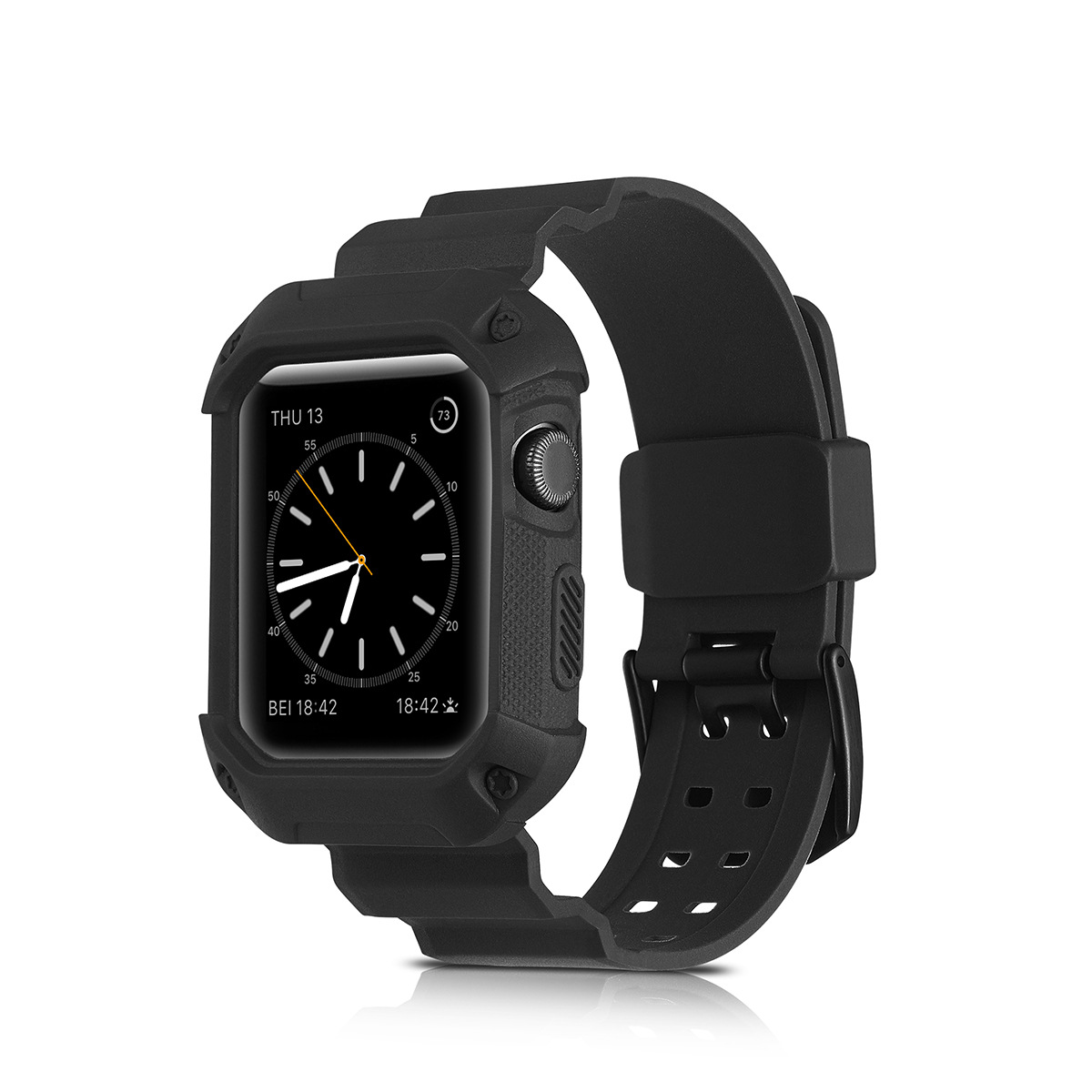 Suitable For Applewacth Apple Watch Strap IWatch Monochrome Silicone Watch Strap TPU One-piece Watch Strap Protective Case
