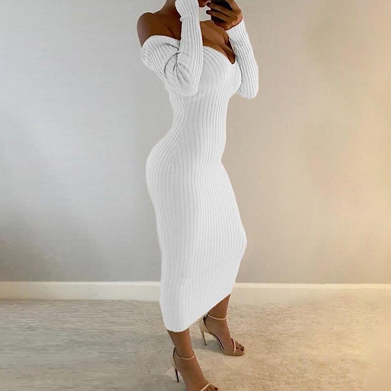 Женское трикотажное платье с глубоким v-образным вырезом, Повседневное платье-свитер с длинным рукавом, сексуальное длинное платье, весна-о...